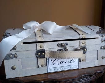 Wood Trunk Wedding Card Box with Card Slot, Rustic Wedding Decor, Wood Card Box, Card Slot, Wedding Cards, Shower Cards