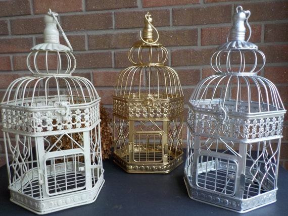 Bird Cage Wedding Card Holder Ivory Gold Silver Birdcage Etsy