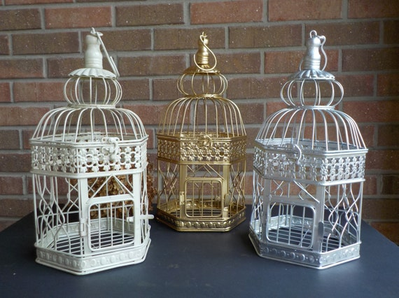 Bird Cages Party Decor, Choice of Colors, Home Decor or Special Event, Bridal Shower Cards, Wishing Well Bird Cage Card Holder, Hexagon Cage