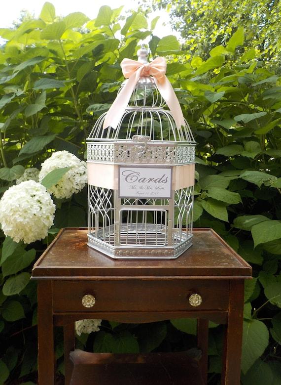 Silver Birdcage Wedding Card Box, Large Bird Cage Shower Card Holder, CUSTOM Colors & Text, Wedding Cards, Shower Cards Money Holder