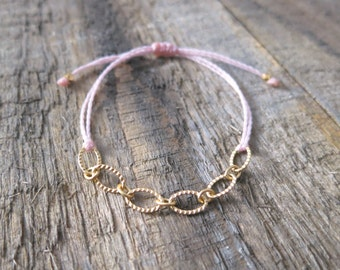Simple Chain Bracelet With Light Pink Waxed Poly Cord
