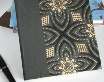 Handmade Hardcover Blank Journal - Black & Gold Velvet