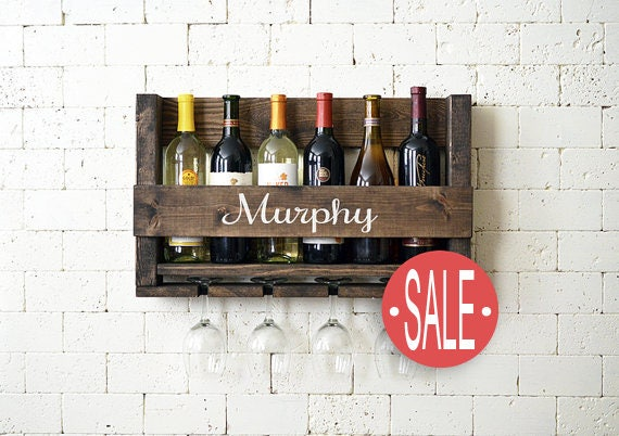 Wine Rack Wall Hanging Personalized Gift - Family Name - Wood Wine Holder - Wine Bottle - Wine Glass - Organizer - Gift - Sale