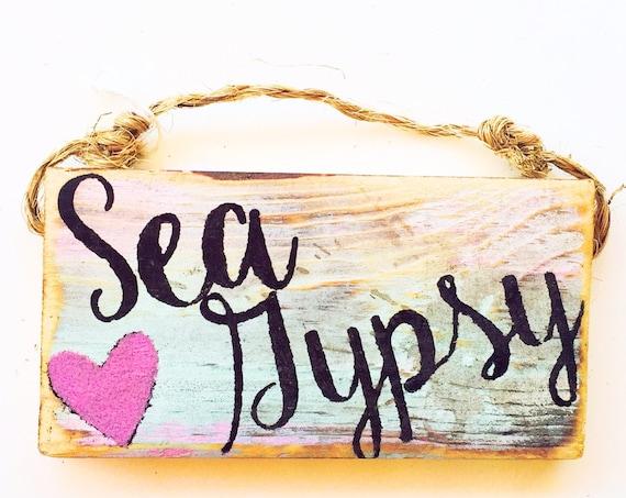 Sea Gypsy Sign / Stocking Stuffers for teens /Dorm Room Decor/ Beach Decor / Sea Gypsy California / Ocean / Starfish Sign / Wood Sign
