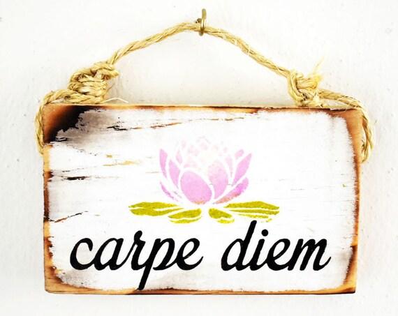 Carpe Diem Sign / Buddha Sign / Dorm Room Decor/ Lotus Flower / Yoga Decor / Sea Gypsy California Signs/ Wholesale Home Decor / Zen Den