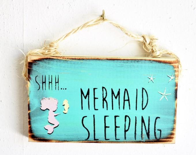 Mermaid Sleeping Nursery Sign / Dorm Room Decor/ Beach Nursery Decor / Sea Gypsy Signs / Wood Beach Sign / Wholesale Home Decor