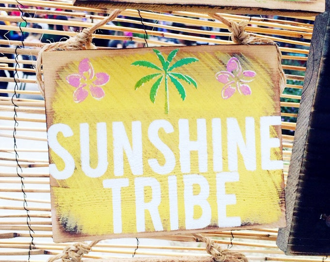 Sunshine Tribe Sign /  Cactus Decor / Dorm Room Decor/ Sea Gypsy California / Surf Sign / Surf Art / Sea Gypsy Signs / Good Vibes Sign
