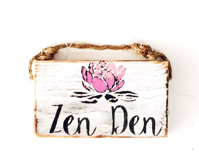 Featured listing image: Zen Den Sign /Stocking Stuffers for teens / Dorm Room Decor / Yoga Decor / Sea Gypsy California / Buddha / Meditation Sign / Wood Sign