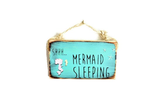Mermaid Sleeping Nursery Sign / Dorm Room Decor/ Beach Nursery Decor / Sea Gypsy Signs / Wood Beach Sign / Wholesale Home Decor