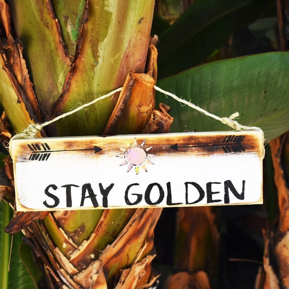 Stay Golden Sign / Surfing Sign / Surfer Gift / Beach Sign / Hawaii Art / Beach Art / Surf Art / Surfer Gift / Wholesale Beach Signs