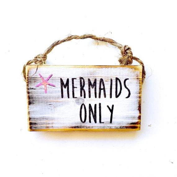 Mermaid Sign / Dorm Room Decor/ Beach Decor / Sea Gypsy California / Ocean / Starfish Sign / Wood Sign