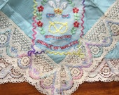 Hand Embroidered quot North Staffordshire Prince of Wales quot Regiment Souvenir Military Handkerchief