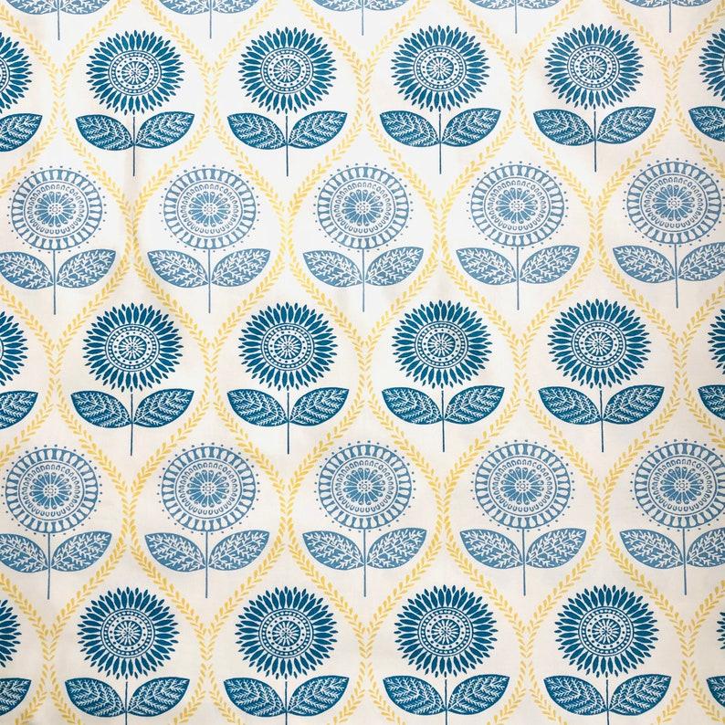 Sunflower Denim ~ Laura Ashley ~ New /& Unused ~ Haberdashery \u201cEditions\u201d Cotton Fabric ~ Metre Width ~ 142 CM Wide X 100 CM Long