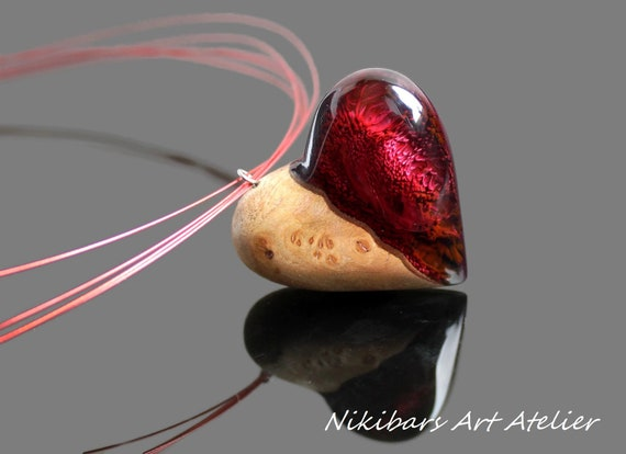 Valentines Day Heart Resin Necklace Jewelry Pendants ...