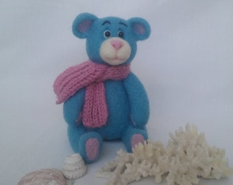 Needle felted teddy bear, blue bear.