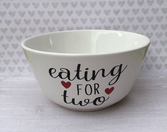 Eating for Two bowl, pregnancy announcement, mommy to be bowl