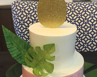 Gold glitter pineapple cake topper, pineapple party, pineapple baby shower, tropical party, birthday party, gold pineapple
