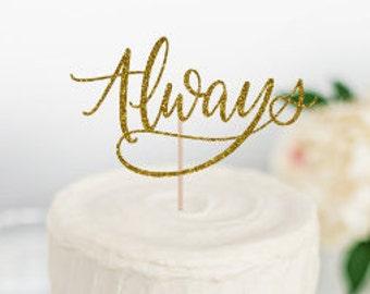 """Always Cake Topper, Wedding Cake Topper, Engagement Party Cake Topper, Harry Potter, Harry Potter cake, """"Always"""" cake topper,"""