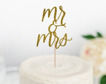 Mr and Mrs Cake Topper, Wedding Cake Topper, Engagement Party Cake Topper, Mr & Mrs, Bride and Groom, bridal shower