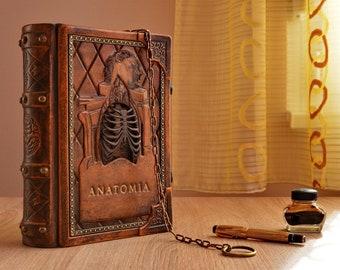 Leather journal 'Anatomia', Da Vinci Medieval Journal, Renaissance anatomical blank book, leather book