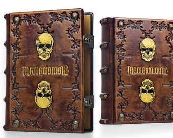 "8"" x 10"" - Memento Mori, large leather journal - 600 pages - Skull journal - medieval sketchbook - magician book - Gamer Handbook - Ambigram"