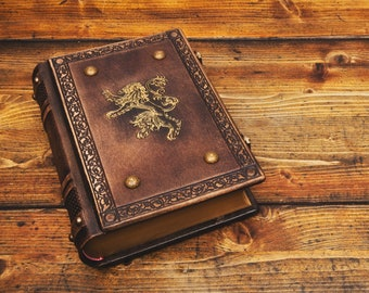 """7.5"""" x 10"""" (25.2 x 19 cm) - Lions Leather Journal - Heraldic book, Medieval Journal, Royal sketchbook, Unique Gift, Magician book"""