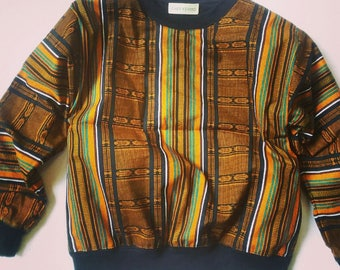 Ankara African Sweatshirt - Black & Gold Kente