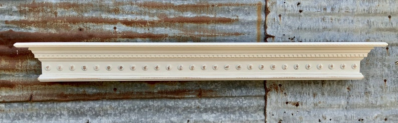 White Wall Shelf Mantel with Dentil Crown Molding and Wooden image 1
