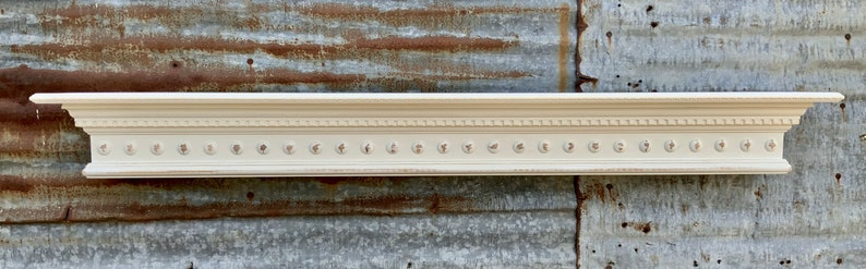 White Distressed Wall Shelf with Dentil Crown Molding and image 0