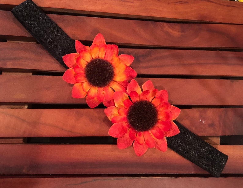 2 sunflowers headband-stretch headband-girls headband-orange sunflower-fall headband-orange flowers