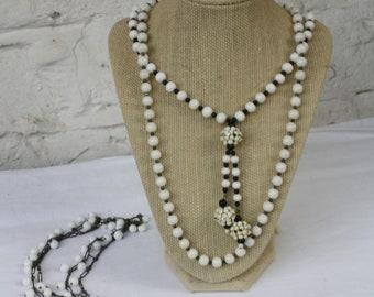 Milk Glass Necklaces / Vintage Beaded Necklaces / Antique Milk Glass Necklace / Chain Link Milkglass Necklace / Three Set Vintage Necklaces