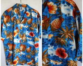 d977f83fac183f 80s Hawaiian Shirt / Mens Hawaiian Shirt / Hawaiian Fruit Shirt / Vintage  Luau Shirt / Kennington Blue Hawaii Shirt / Pineapple Shirt L