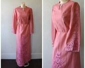 Modest Cocktail Dress Vintage Maxi Dress 1960s Pink Dress Long Lace Dress Vintage 70s Party Dress Lacy Cocktail Party Dress M