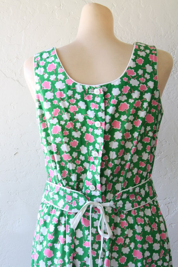 Sundress Dress Pink M Beach Surfer Dress Dress Dress Deadstock Posies Pocket Green Dress Girl Sun Summer 1970s Sun Vintage 10xqTxF