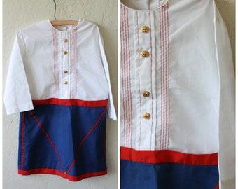 Girls Patriotic Dress / Little Drummer Girl / Girls 4th of July Dress / Vintage Girls Dress / 1970s Girls Drummer Dress / American Dress 7/8