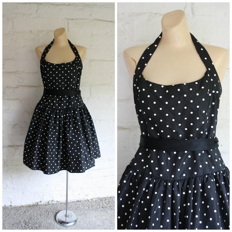 04f60cc88ffa1 Polka Dot Prom Dress / Halter Party Dress / Black White Polka | Etsy