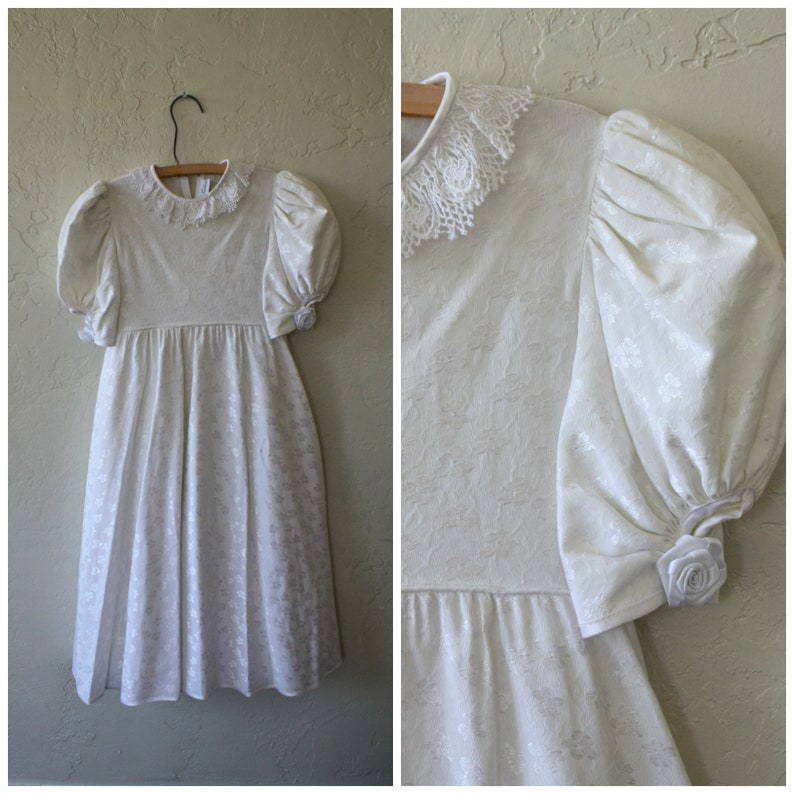 d8f61bd6612 Girls Vintage Dress   Ivory Brocade Dress   Jayne Copeland