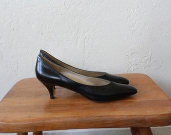 1980s Black Pumps / Vintage High Heels / Little Black Pumps / Black High Heels / Vintage Claiborne Heels / Vintage 80s Black High Heels 9N