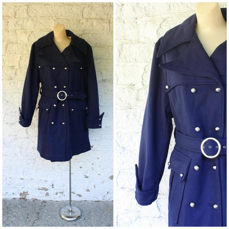 129e4e2cd9e7 1970s Navy Blue Coat / Military Blue Peacoat / Double Breasted | Etsy