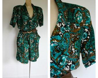 1980s Tribal Print Romper / Vintage Shorts Jumper /  Summer Jumpsuit / 80s Green Romper / Vintage 1980s Green Shorts Romper M