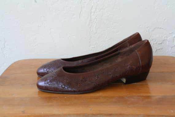 Heels Slides Pointy Shoes Leather Slides Shoes Heel 7 Leather Toe Woven Vintage Womens Lo Low Brown Leather Flats 1980s Shoes n6w8q70