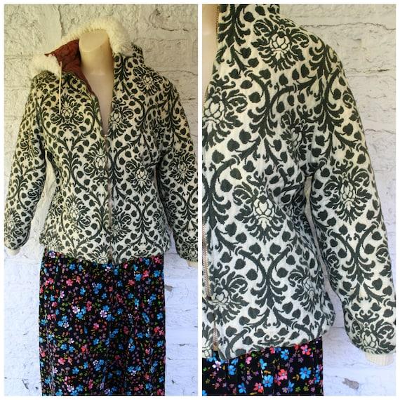 1970s Hooded Jacket / Vintage Tapestry Jacket / Gr