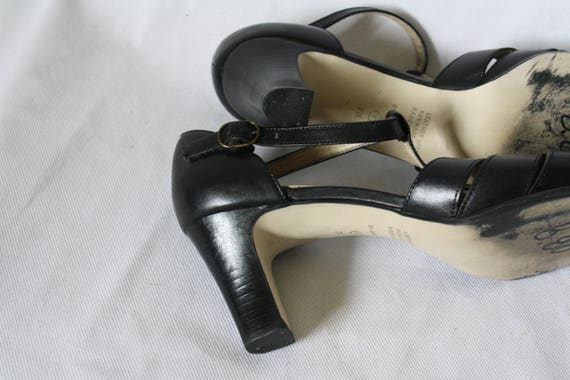 Sandals Heels Pumps Heel 7 Leather High High Heels Sandals 90s Leather Vintage T Black T Strap Heels Strap High Black Jane Mary 1wqWnxOzA