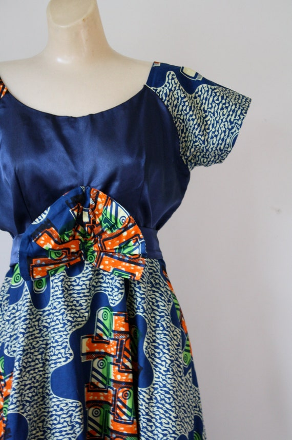 L 1940s Dress Easy OOAK Dress Speak Dress Dress Sapphire Blue Dress Swing Vintage Dress 40s Midnight Novelty Blue Satin M HHYqwf