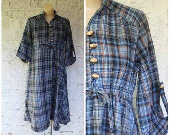 1980s Maternity Dress / Vintage Maternity Dress / Blue Plaid Maternity Dress / Wool Blend Maternity Dress / Modest Maternity Dress S/M