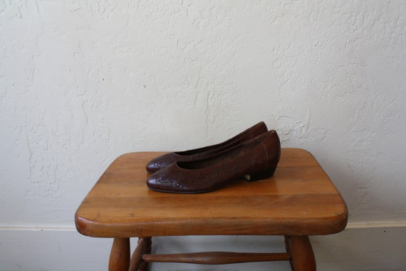 Heels Flats Brown Shoes Pointy Toe Vintage 1980s Shoes Leather Heel Low 7 Slides Leather Lo Slides Leather Shoes Womens Woven 1ppw56Ax
