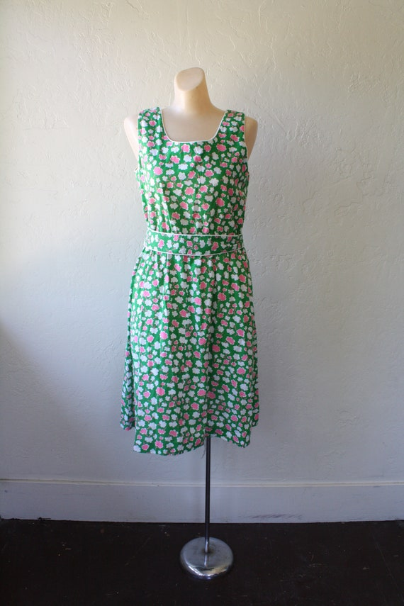 Vintage Surfer Sun Sun Pink Dress Dress Pocket Beach Summer Girl Posies M Green Dress 1970s Dress Sundress Deadstock Dress wE4WqBwP