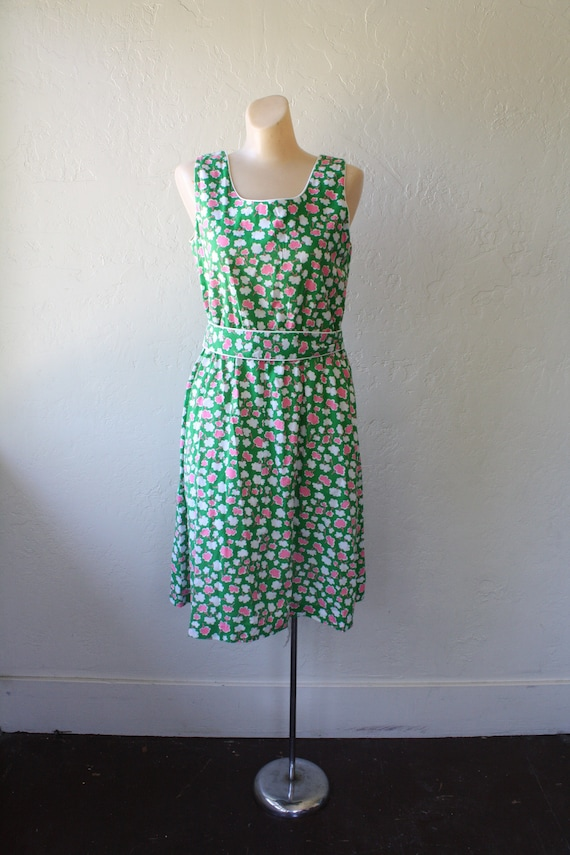 Summer Beach Sun Posies Surfer Dress M Pink Vintage Dress Green Sundress Pocket Dress Dress Deadstock 1970s Dress Sun Girl qFwSzxqt
