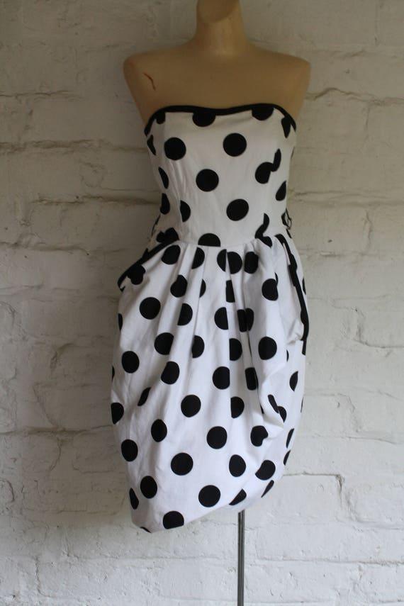 Dress Strapless Vintage Martin 80s M Dress 1980s Nili Dress Dress Polka Strapless Dot Dot Strapless White Black Disco Dress Dress qwtwap7R