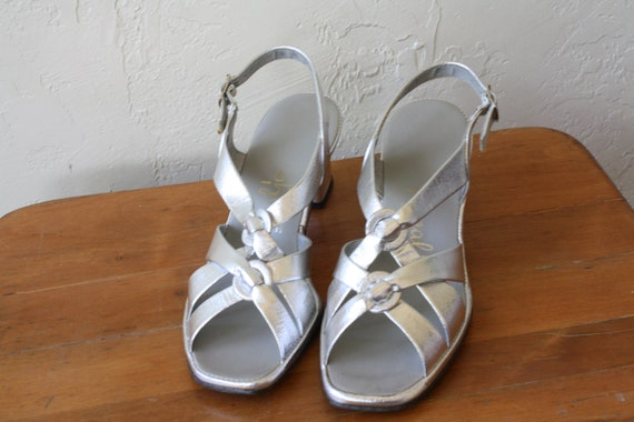 Fancy Silver Sandals Sandals Vintage 1970s High Heels Vintage Pumps Chunky Sandals Strappy Heel 5 Sandals 7 Heel High Sparkle vqApww